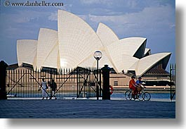 australia, bikes, buildings, harbor, horizontal, lamp posts, nature, opera house, pedestrians, people, structures, sydney, water, photograph
