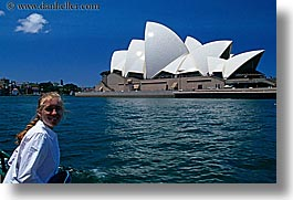australia, buildings, harbor, horizontal, jills, nature, opera house, people, structures, sydney, tourists, water, womens, photograph