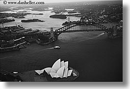 aerials, australia, black and white, bridge, buildings, harbor, horizontal, houses, nature, opena, opera house, structures, sydney, water, photograph