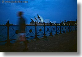 australia, buildings, dusk, harbor, horizontal, motion blur, nature, nite, opera house, pedestrians, structures, sydney, water, photograph