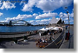 australia, bridge, buildings, clouds, harbor, horizontal, lamp posts, nature, opera house, sky, structures, sydney, tents, water, photograph