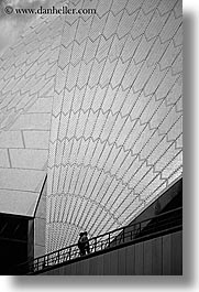 australia, black and white, buildings, couples, opera house, structures, sydney, vertical, photograph