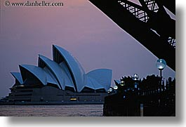 australia, buildings, dusk, harbor, horizontal, lamp posts, nature, opera house, structures, sydney, water, photograph