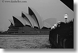 australia, black and white, buildings, harbor, horizontal, lamp posts, nature, opera house, structures, sydney, water, photograph
