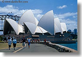 australia, buildings, horizontal, opera house, pedestrians, people, structures, sydney, photograph