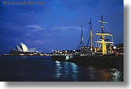 australia, buildings, dusk, harbor, horizontal, nature, nite, opera house, ships, structures, sydney, water, photograph