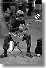 australia, black and white, clothes, guitars, hats, instruments, men, music, musicians, people, players, sydney, vertical, photograph
