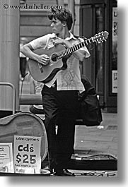 australia, bands, black and white, guitars, instruments, men, music, musicians, people, sydney, urban gypsies, vertical, photograph