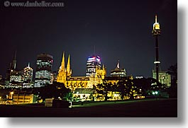 australia, buildings, churches, cityscapes, horizontal, nite, religious, st marys cathedral, structures, sydney, photograph