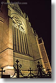 australia, buildings, churches, nite, religious, st marys cathedral, structures, sydney, vertical, windows, photograph