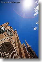 australia, buildings, churches, nature, religious, sky, spire, st marys cathedral, structures, sun, sydney, vertical, photograph
