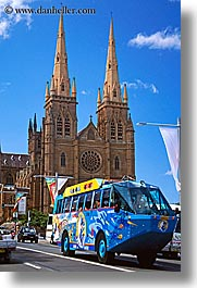 australia, buildings, bus, churches, religious, st marys cathedral, structures, sydney, tourists, transportation, vertical, photograph