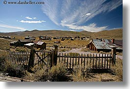bodie, california, exteriors, fences, ghost town, horizontal, state park, west coast, western usa, photograph