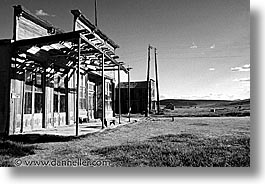 black and white, bodie, california, exteriors, ghost town, horizontal, state park, west coast, western usa, photograph