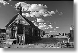 black and white, bodie, california, churches, exteriors, ghost town, horizontal, state park, west coast, western usa, photograph