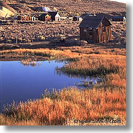 bodie, california, exteriors, ghost town, pond, square format, state park, west coast, western usa, photograph