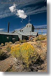 antiques, bodie, california, clouds, ghost town, gold, gold mine, mill, mine, state park, vertical, west coast, western usa, photograph