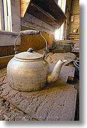 antiques, bodie, california, ghost town, kitchen, teapots, vertical, west coast, western usa, photograph