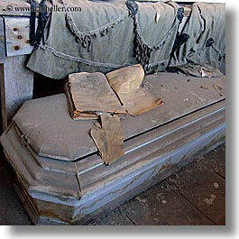 antiques, bodie, books, california, coffin, ghost town, morgue, square format, west coast, western usa, photograph