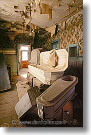 antiques, bodie, california, coffin, ghost town, morgue, vertical, west coast, western usa, photograph