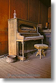 antiques, bodie, california, ghost town, music, piano, vertical, west coast, western usa, photograph