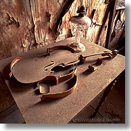 antiques, bodie, california, ghost town, music, square format, violins, west coast, western usa, photograph