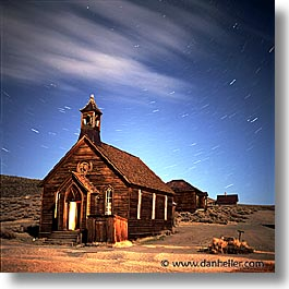 antiques, artifacts, bodie, california, exteriors, ghost town, landmarks, nite, north america, old west, square format, star trails, stars, state park, trails, united states, west coast, western usa, photograph