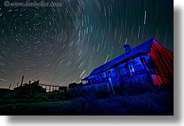 antiques, bodie, california, ghost town, horizontal, houses, long exposure, nite, over, star trails, stars, state park, west coast, western usa, photograph