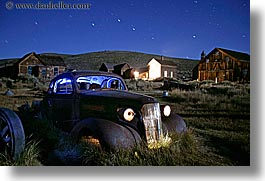 antiques, bodie, buick, california, cars, ghost town, horizontal, long exposure, nite, stars, state park, thirties, west coast, western usa, photograph