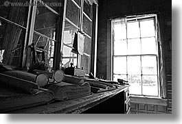antiques, black and white, bodie, california, ghost town, glasses, horizontal, slow exposure, stores, west coast, western usa, windows, photograph