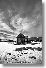 antiques, black and white, bodie, california, clouds, ghost town, houses, state park, vertical, west coast, western usa, winter, photograph