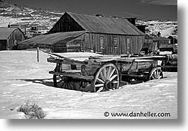 antiques, black and white, bodie, california, ghost town, horizontal, snow, snowcoach, state park, west coast, western usa, winter, photograph