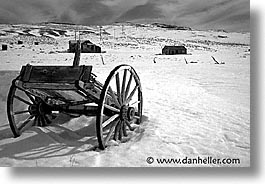 antiques, black and white, bodie, california, ghost town, horizontal, snow, state park, west coast, western usa, wheels, winter, photograph