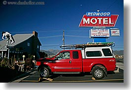 bridgeport, california, horizontal, hotels, red, redwoods, signs, trucks, west coast, western usa, photograph