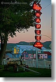 bridgeport, california, hotels, maple, signs, silver, vertical, west coast, western usa, photograph