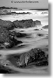 black and white, cal coast, california, california coast, monterey, rocks, vertical, waves, west coast, western usa, photograph