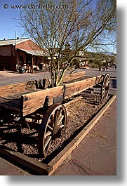 calico, california, trees, vertical, wagons, west coast, western usa, photograph