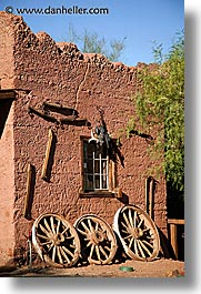 calico, california, vertical, wagons, walls, west coast, western usa, wheels, photograph