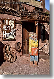 calico, california, indians, statues, vertical, west coast, western usa, wooden, photograph