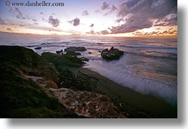 beaches, california, cambria, clouds, horizontal, ocean, slow exposure, sunsets, west coast, western usa, photograph