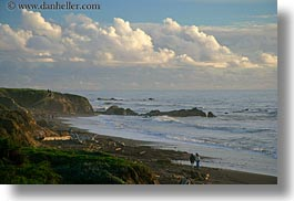 california, cambria, clouds, horizontal, ocean, people, waves, west coast, western usa, photograph