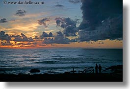 california, cambria, clouds, horizontal, people, silhouettes, sunsets, west coast, western usa, photograph