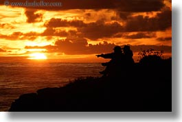california, cambria, couples, horizontal, silhouettes, sunsets, west coast, western usa, photograph