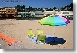 beaches, california, capitola, chairs, colorful, horizontal, umbrellas, west coast, western usa, photograph