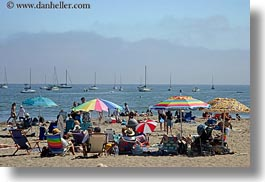 beaches, california, capitola, colorful, horizontal, umbrellas, west coast, western usa, photograph