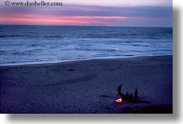 bay, beaches, california, capitola, fire, half, horizontal, moon, west coast, western usa, photograph