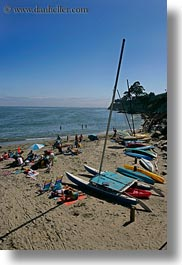 beaches, california, capitola, kayaks, people, vertical, west coast, western usa, photograph