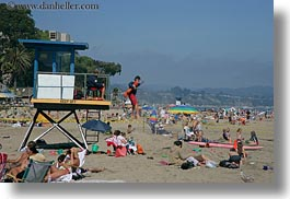 beaches, california, capitola, horizontal, jumping, lifeguard, onto, west coast, western usa, photograph