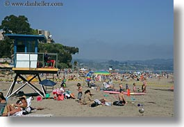 beaches, california, capitola, horizontal, lifeguard, stations, west coast, western usa, photograph