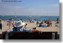 beaches, california, capitola, crowded, hats, horizontal, looking, men, west coast, western usa, photograph